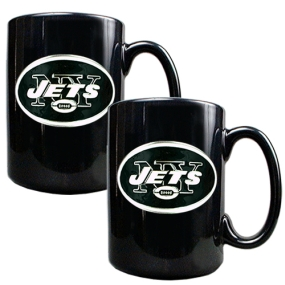 New York Jets 2pc Black Ceramic Mug Set