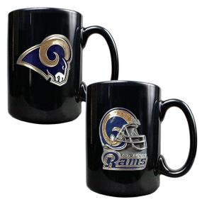 Saint Louis Rams 2PC COFFEE MUG SET-HELMET/PRIMARY LOGO