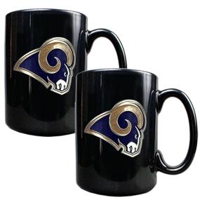 Saint Louis Rams 2pc Black Ceramic Mug Set