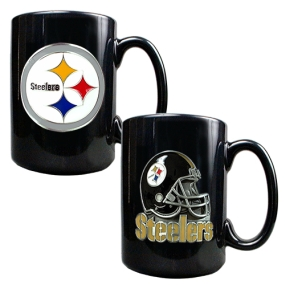 Pittsburgh Steelers 2PC COFFEE MUG SET-HELMET/PRIMARY LOGO