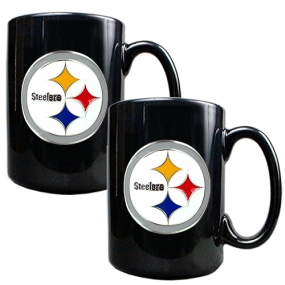 Pittsburgh Steelers 2pc Black Ceramic Mug Set