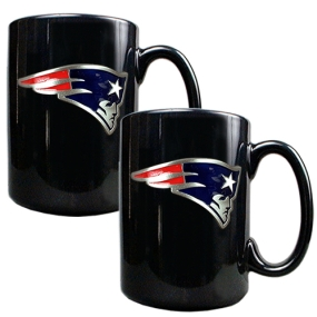 New England Patriots 2pc Black Ceramic Mug Set