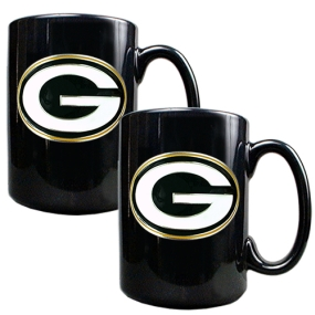 Green Bay Packers 2pc Black Ceramic Mug Set