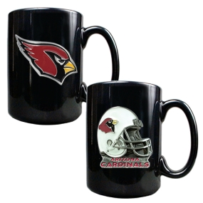 Arizona Cardinals 2PC COFFEE MUG SET-HELMET/PRIMARY LOGO