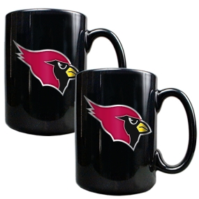 Arizona Cardinals 2pc Black Ceramic Mug Set