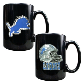 Detroit Lions 2PC COFFEE MUG SET-HELMET/PRIMARY LOGO