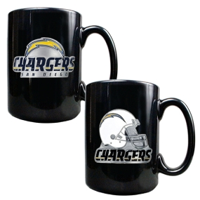 San Diego Chargers 2PC COFFEE MUG SET-HELMET/PRIMARY LOGO