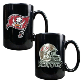 Tampa Bay Buccaneers 2PC COFFEE MUG SET-HELMET/PRIMARY LOGO