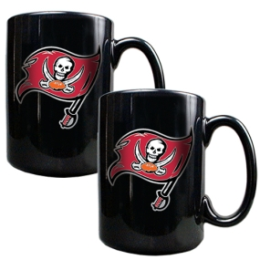 Tampa Bay Buccaneers 2pc Black Ceramic Mug Set