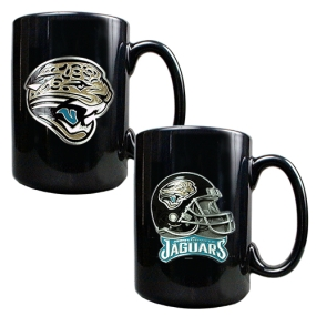 Jacksonville Jaguars 2PC COFFEE MUG SET-HELMET/PRIMARY LOGO