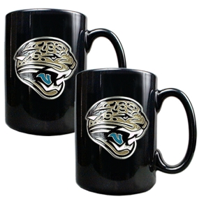 Jacksonville Jaguars 2pc Black Ceramic Mug Set