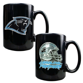 Carolina Panthers 2PC COFFEE MUG SET-HELMET/PRIMARY LOGO