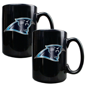 Carolina Panthers 2pc Black Ceramic Mug Set