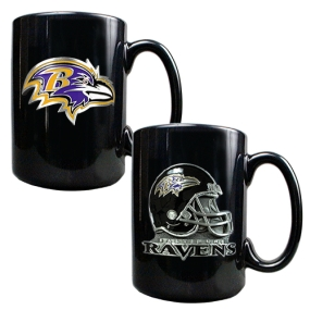 Baltimore Ravens 2PC COFFEE MUG SET-HELMET/PRIMARY LOGO