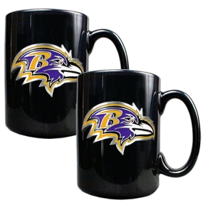 Baltimore Ravens 2pc Black Ceramic Mug Set