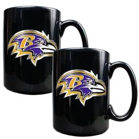 Baltimore Ravens 2pc Black Ceramic Mug Set