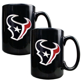 Houston Texans 2pc Black Ceramic Mug Set