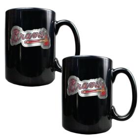 Atlanta Braves 2pc Black Ceramic Mug Set