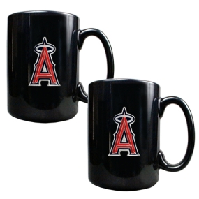 Anaheim Angels 2pc Black Ceramic Mug Set