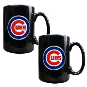Chicago Cubs 2pc Black Ceramic Mug Set