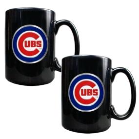 Chicago Cubs 2pc Black Ceramic Mug Set