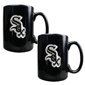 Chicago White Sox 2pc Black Ceramic Mug Set