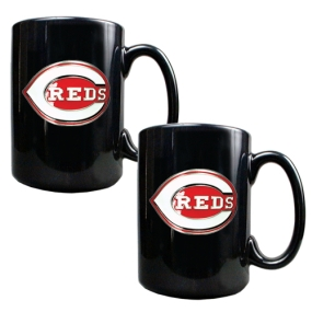 Cincinnati Reds 2pc Black Ceramic Mug Set