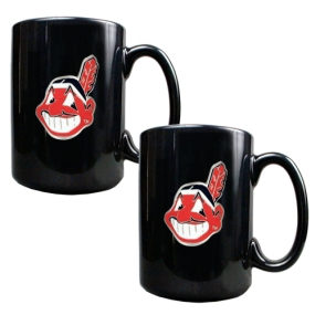 Cleveland Indians 2pc Black Ceramic Mug Set