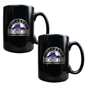 Colorado Rockies 2pc Black Ceramic Mug Set