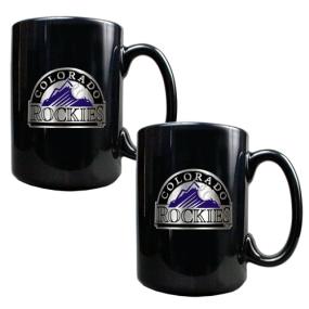 Colorado Rockies 2pc Black Ceramic Mug Set