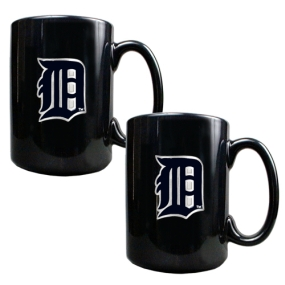 Detroit Tigers 2pc Black Ceramic Mug Set