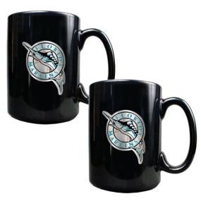 Florida Marlins 2pc Black Ceramic Mug Set