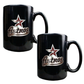 Houston Astros 2pc Black Ceramic Mug Set