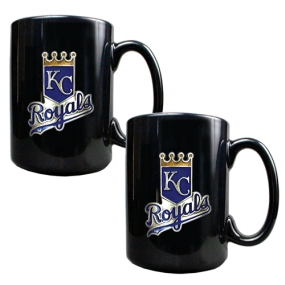 Kansas City Royals 2pc Black Ceramic Mug Set