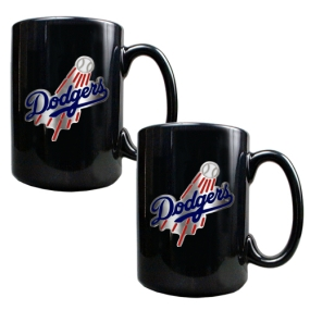Los Angeles Dodgers 2pc Black Ceramic Mug Set