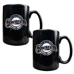Milwaukee Brewers 2pc Black Ceramic Mug Set
