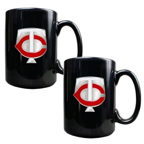 Minnesota Twins 2pc Black Ceramic Mug Set