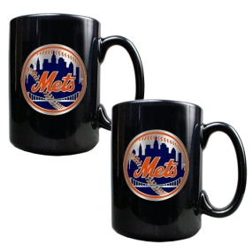 New York Mets 2pc Black Ceramic Mug Set
