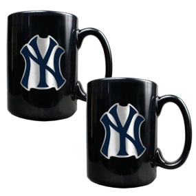 New York Yankees 2pc Black Ceramic Mug Set