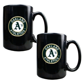 Oakland A's 2pc Black Ceramic Mug Set