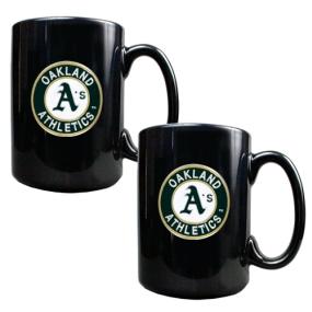 Oakland A's 2pc Black Ceramic Mug Set