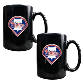 Philadelphia Phillies 2pc Black Ceramic Mug Set