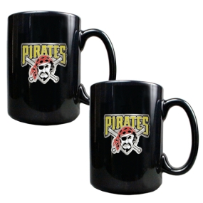 Pittsburgh Pirates 2pc Black Ceramic Mug Set
