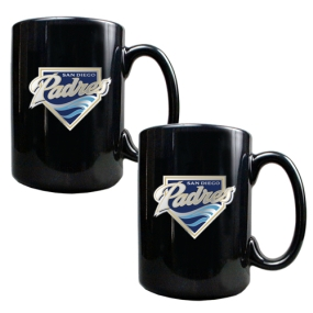 San Diego Padres 2pc Black Ceramic Mug Set