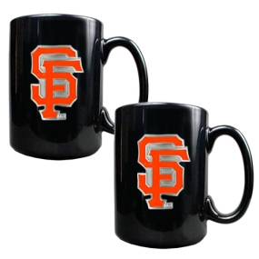San Francisco Giants 2pc Black Ceramic Mug Set