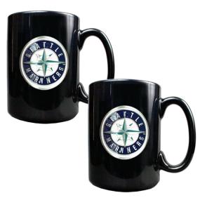 Seattle Mariners 2pc Black Ceramic Mug Set