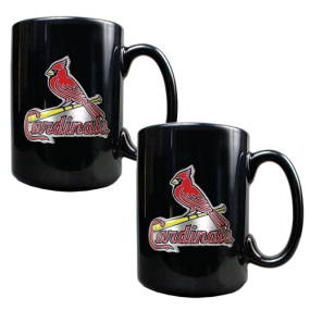 Saint Louis Cardinals 2pc Black Ceramic Mug Set