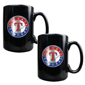 Texas Rangers 2pc Black Ceramic Mug Set