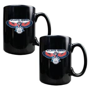 Atlanta Hawks 2pc Black Ceramic Mug Set
