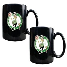 Boston Celtics 2pc Black Ceramic Mug Set